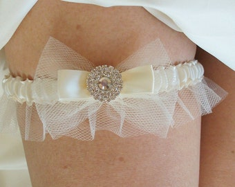 Wedding Garter SET in Ivory Tulle with Double Bow and Swarovski Crystal Centering -The MALLORY Garter