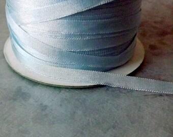 Silk Light Blue Silk Ribbon 1/8 Inch 4 yards 100% Silk