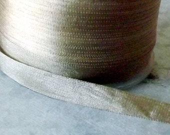 Silk Taupe Silk Ribbon 1/4 inch 2 Yards 100% Silk