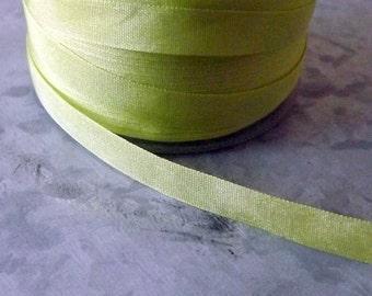 Silk Celery Green Ribbon 1/4 inch 2 Yards 100% Silk