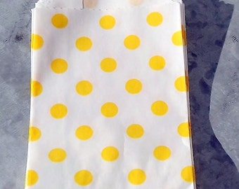 Paper Bags Yellow Polka Dot Little Bitty Bags Set of 10