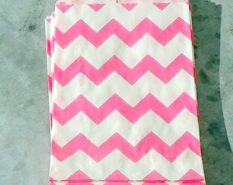Paper Bags Hot Pink Chevron Little Bitty Bags Set of 10 Party Goody Bags Gift Bags