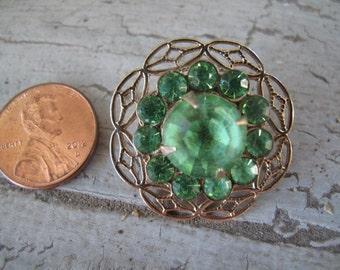 Emerald Green Rivioli Stone Vintage Brooch