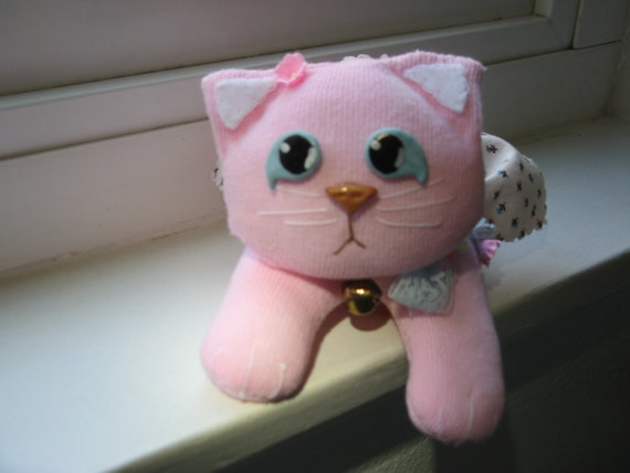 """Sock Cat/Kitten, """"Caddy,"""" a Pink Kitty with a Soft Heart (tm), Gift Wrap Included"""