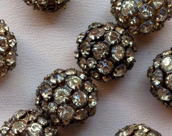 20 mm Vintage Bead Balls Rhinestone Classic Huge 2 or 4 Pieces