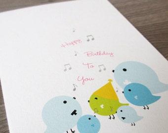 Birthday Card - Happy Birthday to You Singing Birds. Eco Friendly