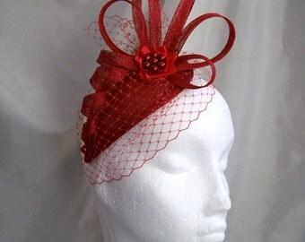 Poppy Red Veil Sinamay Loop & Crystal Pearl Teardrop Wedding Fascinator Mini Hat - Custom Made to Order