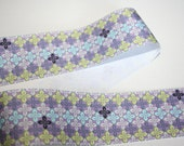 Purple Green Floral Grosgrain Ribbon Retro