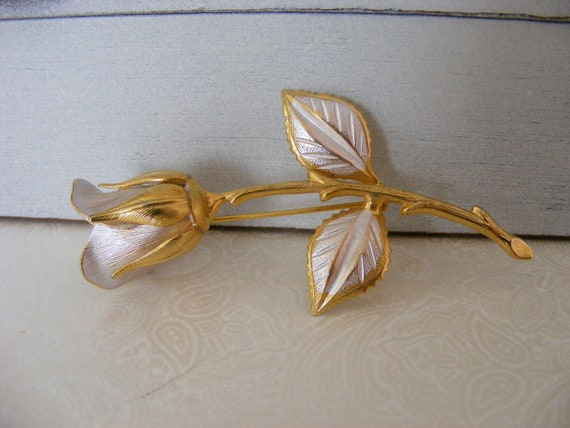 Vintage Gold Silver Rose Pin