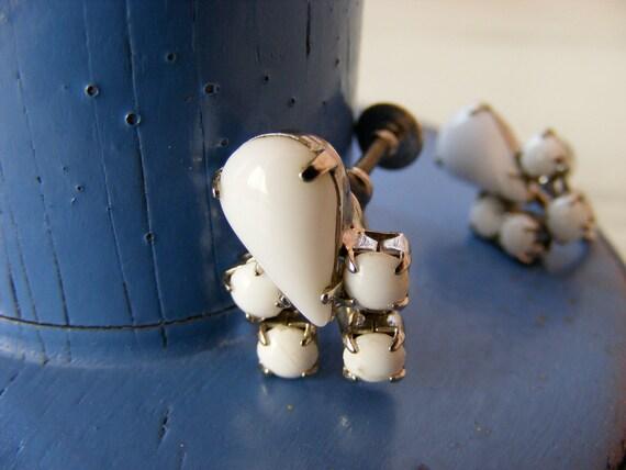 Vintage White Milk Glass Twist Earrings