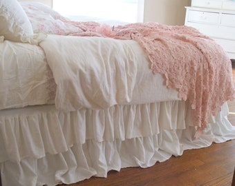 Romantic Tiered Ruffle Bed Skirt Twin Size Off White Linen