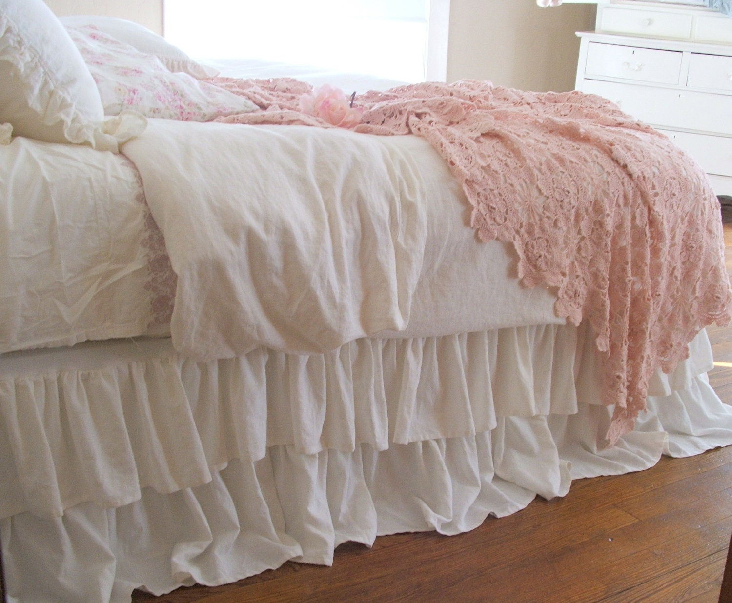 shabby chic bedding romantic tiered ruffle dust ruffle bed. Black Bedroom Furniture Sets. Home Design Ideas