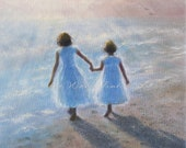 Two Beach Sisters Art Print, two girls beach children ocean paintings two sisters beach wall decor, heavenly,  Vickie Wade art