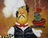 Four Bowl Chef Original Oil Painting, chef art, chef paintings, fat chefs, kitchen art, Vickie Wade Art