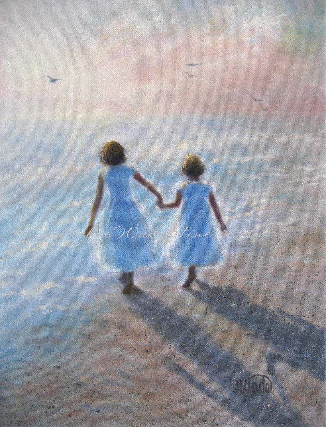 Two Beach Sisters Art Print Two Girls Beach Children Ocean