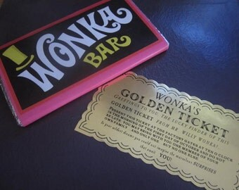 Willy Wonka Golden Ticket & Chocolate Bar Prop Replica Set (vintage)