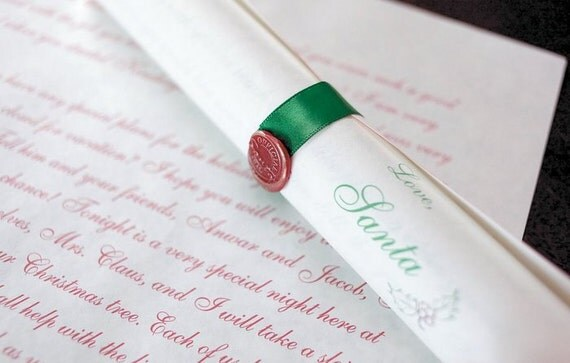 Deluxe personalized scroll from santa claus in candy cane tube for Personalized letter from santa with reindeer food