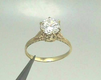 18K Art Nouveau to Edwardian Yellow Gold Antique Filigree Engagement Ring with 7mm 1.25 Cts. Round Brilliant