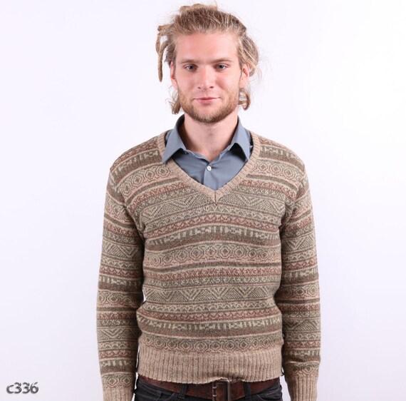 Mens Folk Sweater / 70s Country Winter Jumper / sz Small