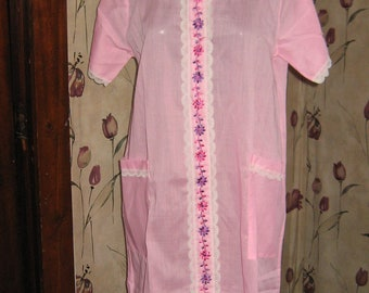 vintage pink robe  housecoat robe loungwear size  14