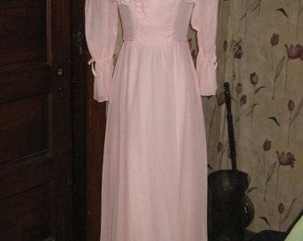 pink  Prairie goddess  Maxi Dress  Vintage 70s