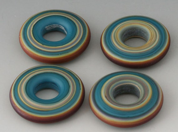 FIRST FRIDAY SALE - Southwest Discs - (4) Handmade Lampwork Glass Beads - Teal Green, Russet Brown - Etched, Matte