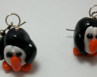 Penguin Earrings in Polymer Clay