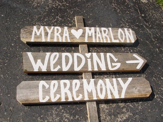 3 painted barn wood Wedding Signs 1 Stake directional name tags any word rustic country western sign