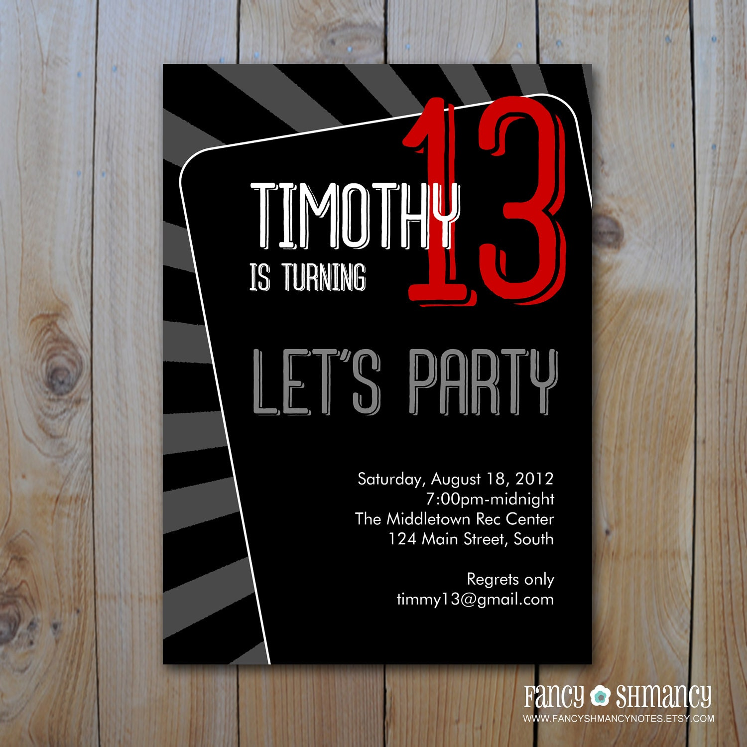 Teen Boy's Birthday Invitation / Let's Party