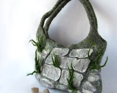 Felted handbag  unique  - Stones grass Alpine Garden