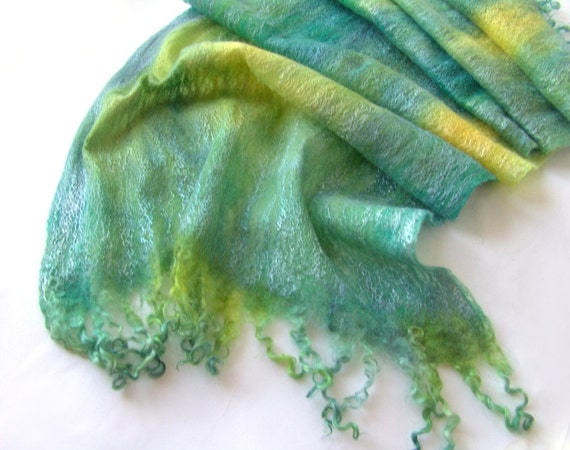 Felted scarf -  Teal Green Blue yellow sea waves spring scarf