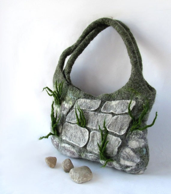 Felted handbag  unique  - Stones grass Alpine Garden