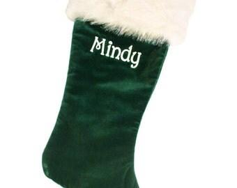 Green Velvet Christmas Stockings 21 inch Personalized