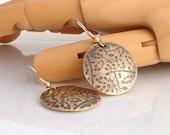 Nugold Gold Earrings Disc Earrings Flower Pattern