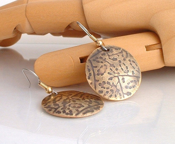 Nugold Gold Earrings Disc Earrings Flower Pattern