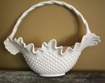 Vintage Burwood White Hobnail Wall Pocket Flower Hanging Basket Plastic 80's