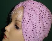 Pink&Black Pindot Cotton Knit  Cancer Chemo Hat Alopecia Turban Hijab Free Shipping in USA
