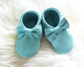 Mint Suede Leather Moccasins for babies and toddlers