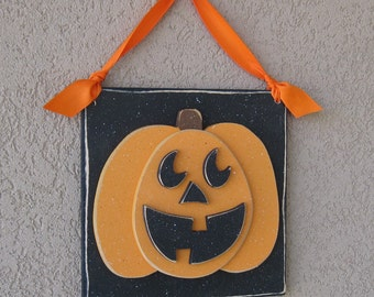 Hanging HALLOWEEN JACKOLANTERN PUMPKIN with ribbon for Halloween, wall, door hanger, and  home decor