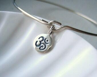 Om Bangle Bracelet  - Sterling Silver Bangle - Stacking Bracelet - Yoga Inspired