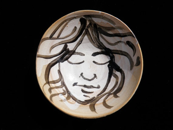Ceramic Bowl with Original Glaze Painting of a Face, Art Pottery