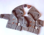 2 Jackets Size 12 mnth for KMAXX Hand Knit baby coat Hooded children's Jacket Merino wool Coat with pockets Different sizes and colors