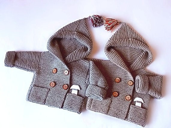Hand Knit baby coat Hooded children's Jacket Merino wool Coat with pockets Different sizes and colors