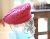 Vintage 60s Florence Esther Mod Hot Pink Summer Hat Woven Rattan Flat Bow Chiffon Pleats Fabulous