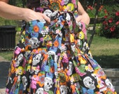 Handmade 100% Cotton Day of the Dead (Dia de los Muertos) Patterned Ruffled Hostess Full Apron with 2 Pockets