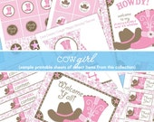 Pink Cowgirl Party Decorations - Pink Brown Paisley Gingham Cowgirl Birthday Party - EDiTABLE Food Cards - PRINTABLE - INSTANT DOWNLOAD