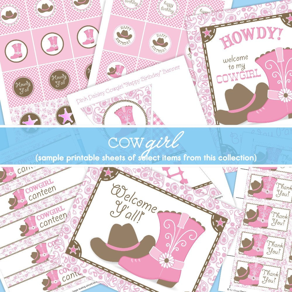 Cowgirl Birthday Decorations Pink Cowgirl Party Decorations Pink Brown Paisley Gingham