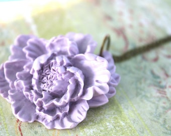 Lavender peony necklace
