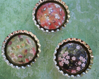 Set of 3 bottlecap magnets