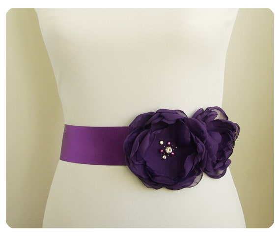sash ribbon sash simple bridal sash purple sash purple bridal sash